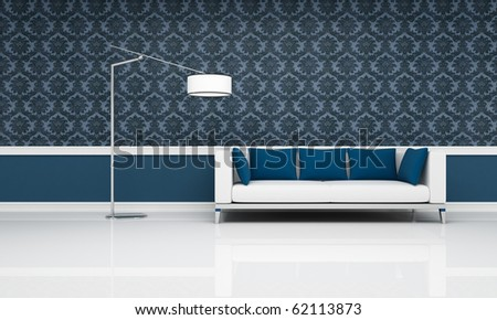 black and white damask wallpaper. stock photo : white couch with