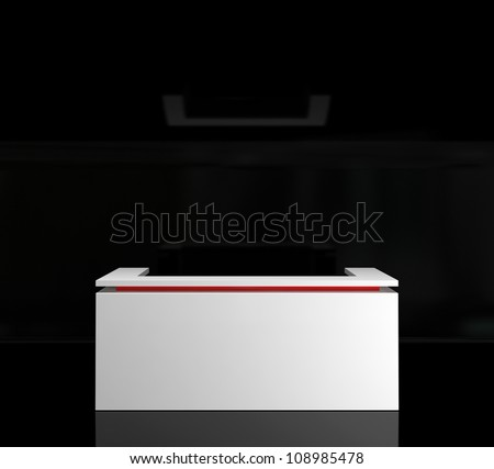 white counter in dark room