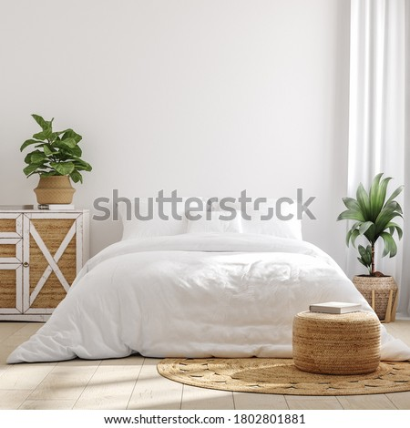White cozy farmhouse bedroom interior, wall mockup, 3d render