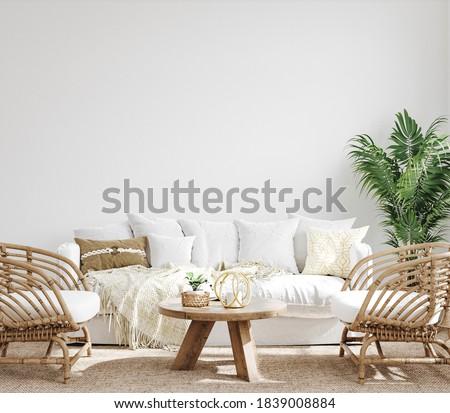 White cozy living room interior, Coastal Boho style, 3d render