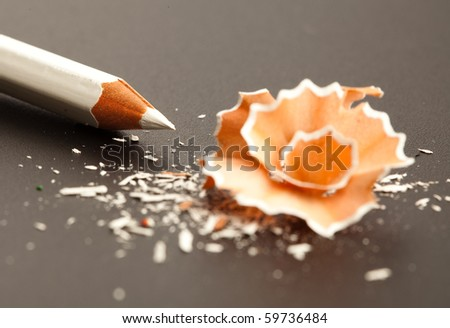 white crayon and shavings