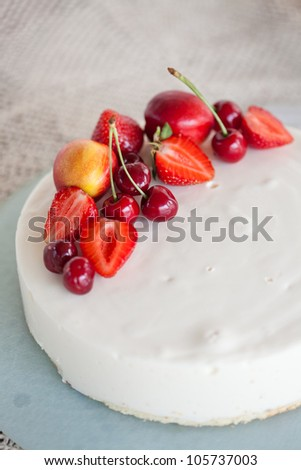 White Cream Icing Cake with Fruits