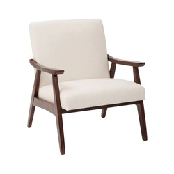 White Cream Lounge Chair Isolated on White Background. Modern Upholstered Living Room Armchair with Solid Wood Frame Construction. Modern Beige Arm Chair with Wood Armrests. Wooden Lounge Chair Side