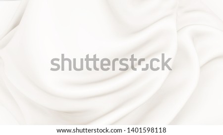 White cream texture background, silky smooth illustration. Yoghurt creme wavy fabric, cloth texture close up.