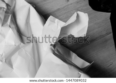 white creased crumpled paper background grunge texture backdrop #1447089032