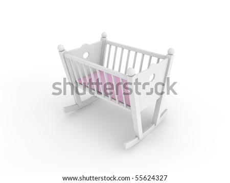white crib for baby girl - stock photo