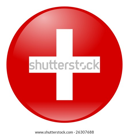 white cross on red aqua button isolated - stock photo