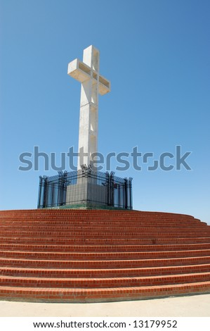 White cross on veterans memorial; Mount Soledad Memorial; San Diego, California