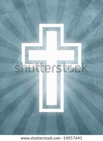 White Cross over a starburst grunge textured background
