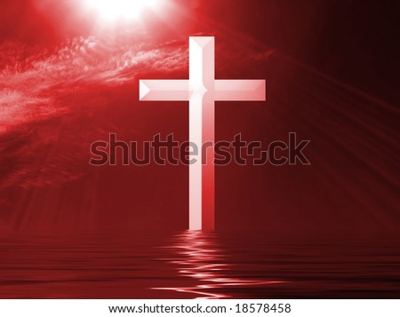 White Cross with red sky and rippled water