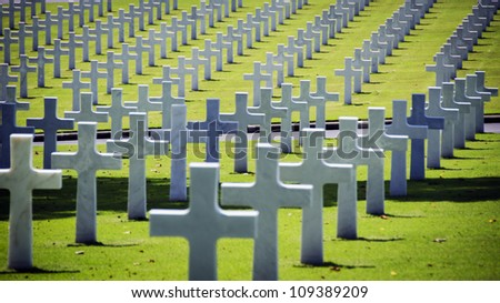 White crosses at the American war cemetery in Manila, Philippines