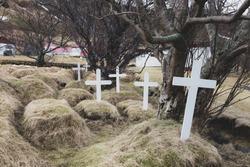 White crosses on turf cemetery graveyard at Hofskirkja church, Hof, Iceland.
