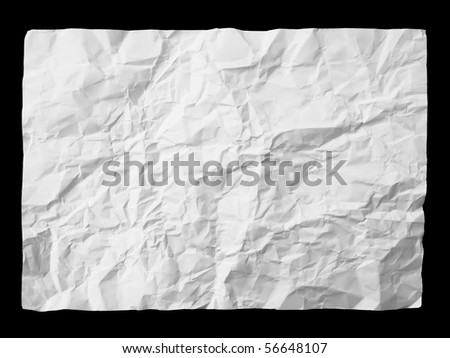 White crumpled paper on black background