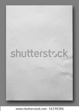 White crumpled paper on Gray background isolated