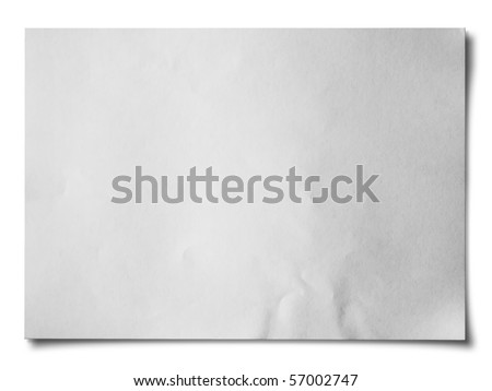 White crumpled paper on white background isolated Horizontal