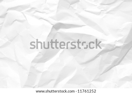 White crumpled paper. Texture background