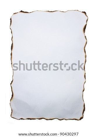 White Crumpled Paper with Burned Edges.