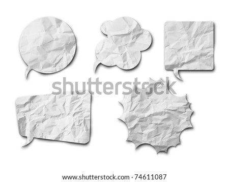 White crumpled speech bubble Paper on white background with shadow