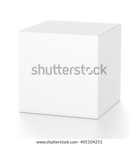 White cube blank box from top front far side angle. 3D illustration isolated on white background.