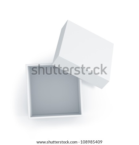 White cube box with top cover. High resolution 3D illustration with clipping paths.