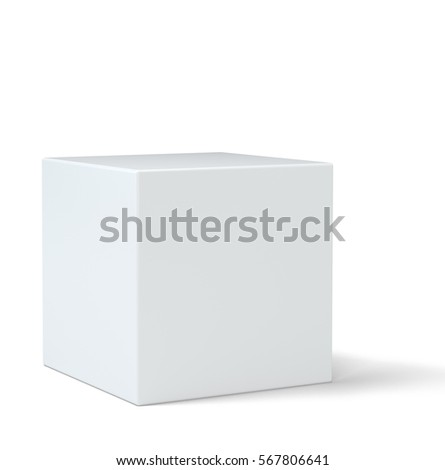 White cube in light studio. 3d rendering background