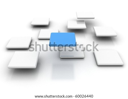 white cubes with a single blue