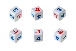 White cubes with red and blue numbers on them. The numbers are positive and negative. Isolate on a white background.