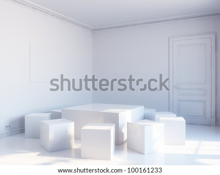 white cubic interior