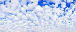 White cumulus clouds on blue sky background, beautiful cirrus cloudscape wide panoramic view, cloudy skies panorama, fluffy cloud texture, sunny heaven landscape, cloudiness weather backdrop, overcast