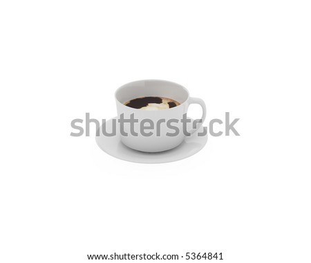 White cup against white background. 3d work. - stock photo