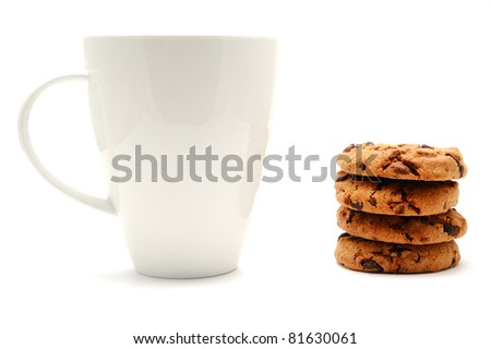 White cup and chocolate cookies, isolated on a white background