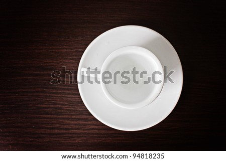 White cup and saucer for coffee