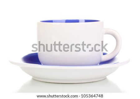 White cup and saucer isolated on white