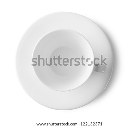 White cup and saucer isolated on white background