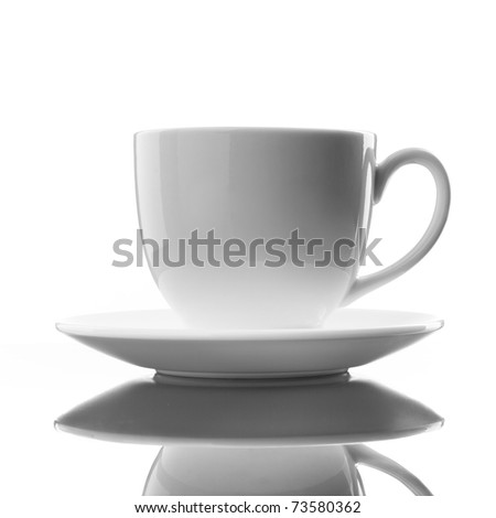 white cup and saucer on white