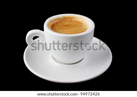 White cup coffee espresso isolated on black