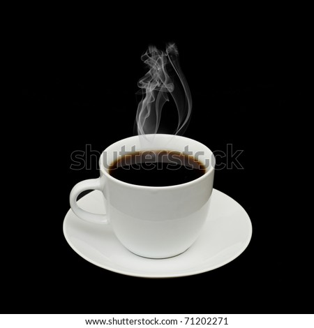 White cup isolated on a black background