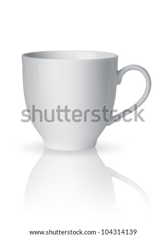 White cup isolated on white background with path