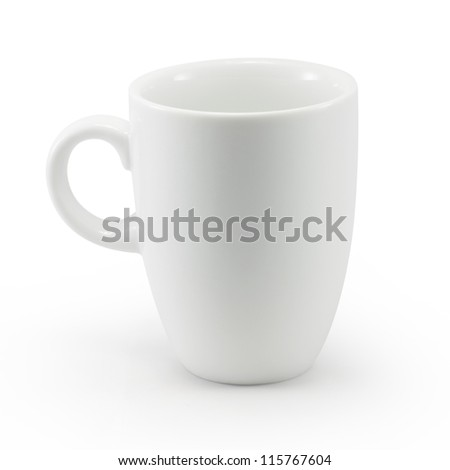 White cup isolated with clipping path