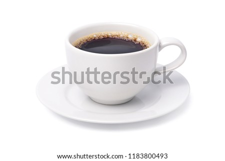 White cup of black coffee isolated on white background with clipping path