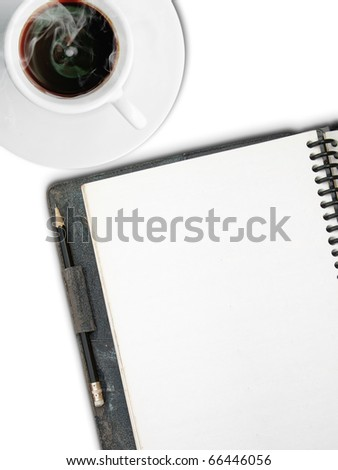 White Cup of coffee and One face white blank page sketch book with black pencil on white background