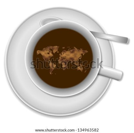 White cup of coffee and world map floating in it / World in a cup of coffee