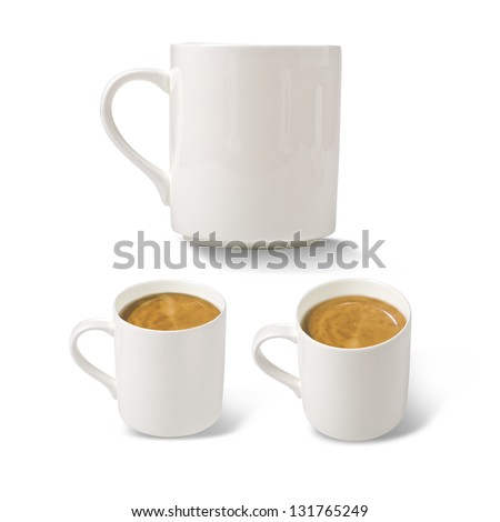 white cup of coffee in the three planes on a white background