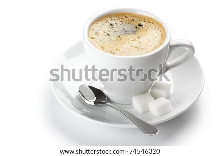 White cup of coffee isolated on white background.