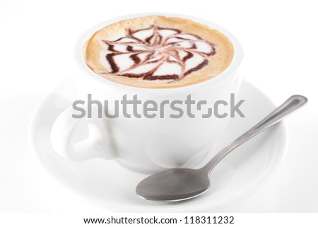 white cup of coffee on white background