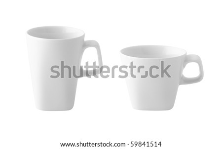 White cup of coffee or milk isolated