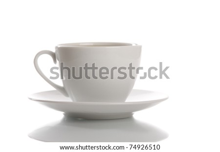 White cup of coffee with saucer and reflection. Isolated over white