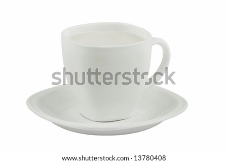 White cup of milk isolated on white background