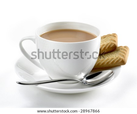 White cup of tea with biscuits