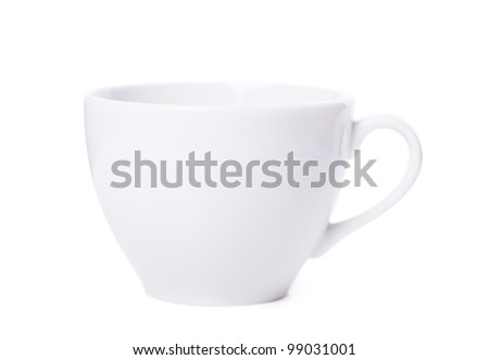 White cup over white background